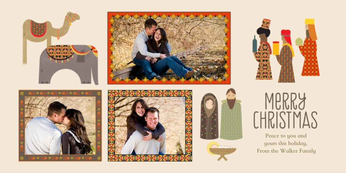 Christmas Photo Cards Flat Glossy Photo Paper Cards with Envelopes, 4x8, Card & Stationery -Modern Manger