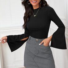 Split Bell Sleeve Tee & Gingham Skirt