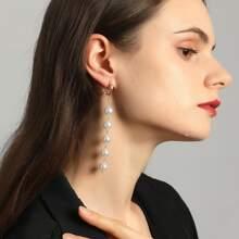 Faux Pearl Chain Drop Earrings