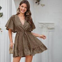 Flutter Sleeve Ruffle Hem All Over Print Dress