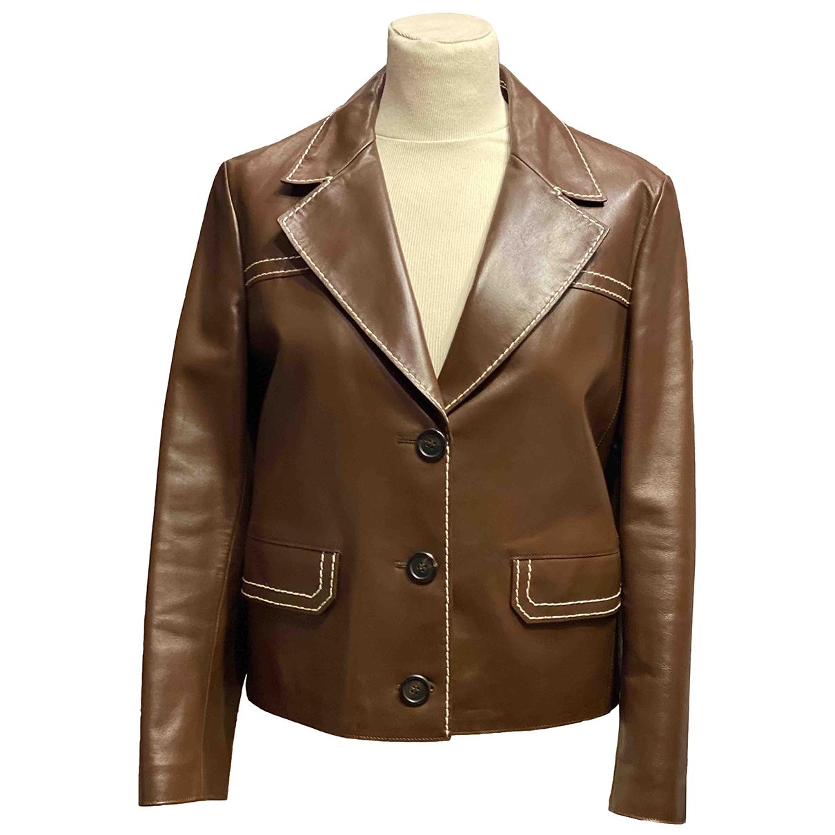 Prada - Veste   pour femme en cuir - marron