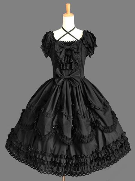Milanoo Classic Lolita OP Dress Black Ruffles Lolita One Piece Dresses