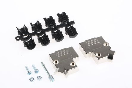 MH Connectors , MHD45PK ABS Angled D-sub Connector Backshell, 9 Way, Strain Relief, Silver