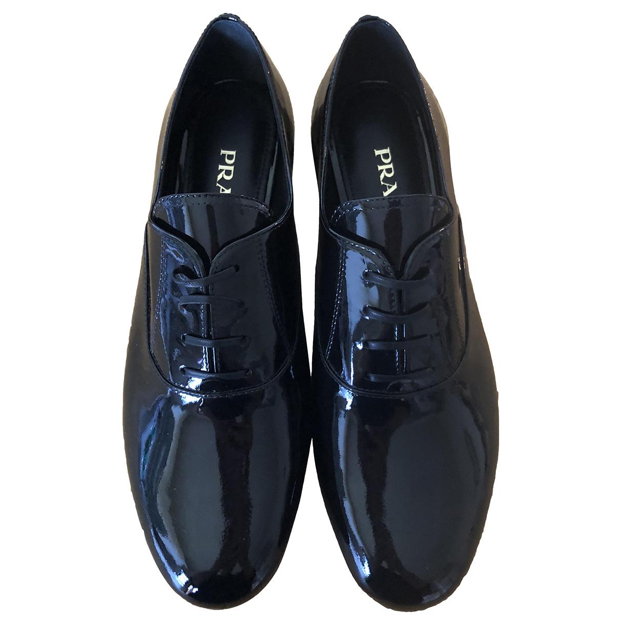 Prada N Black Patent leather Lace ups for Women 37.5 EU
