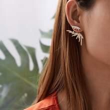 Rhinestone Decor Wing Earring Jackets 1pair