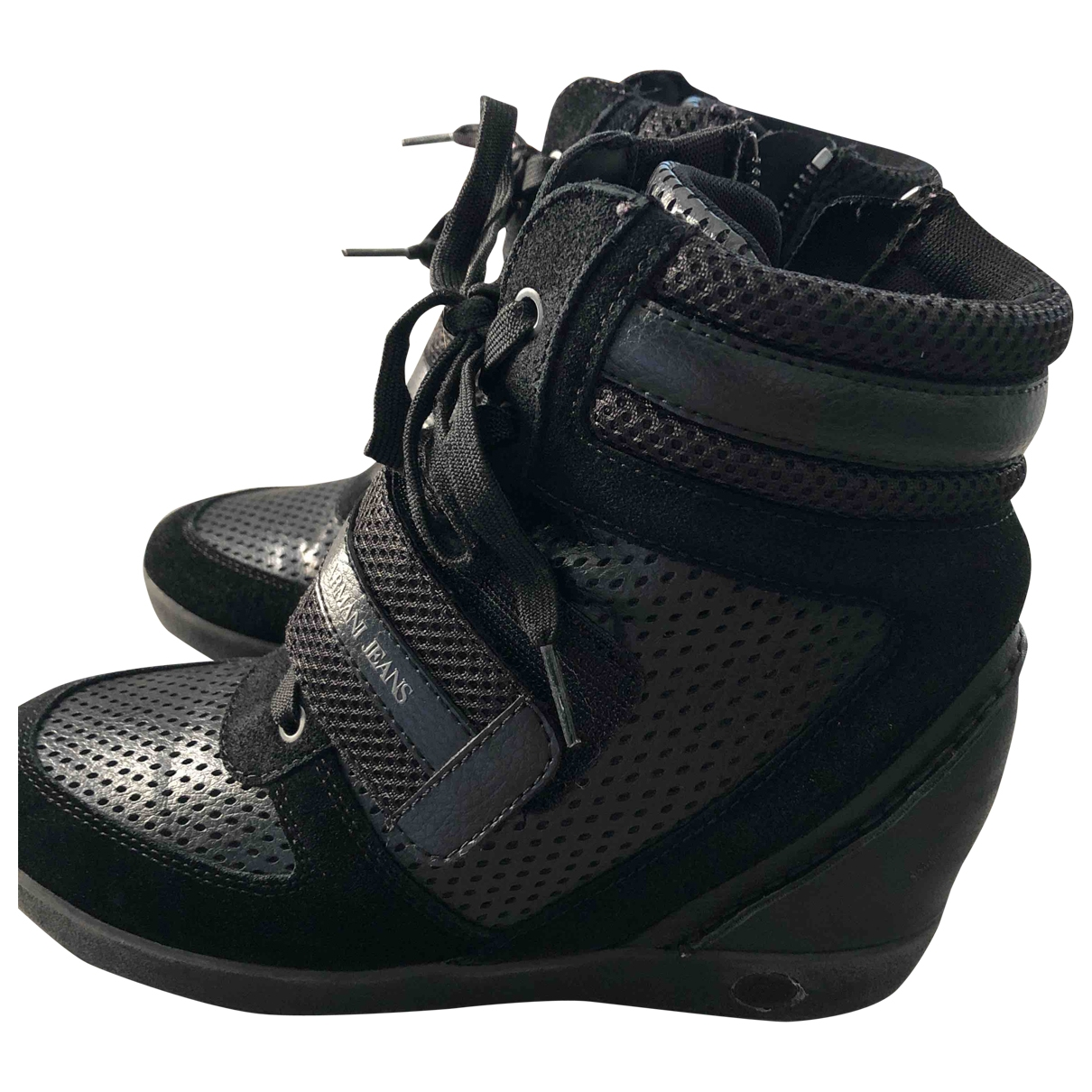 Armani Jeans \N Stiefeletten in  Schwarz Leinen