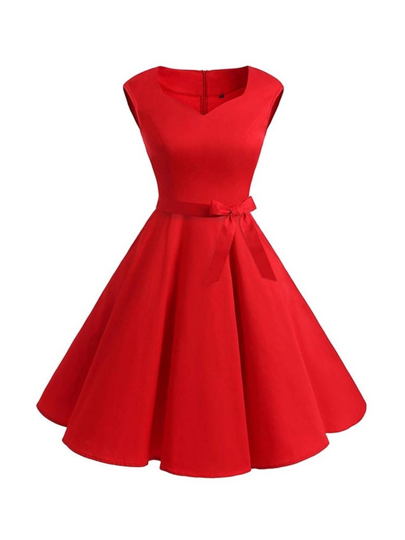 Ericdress Sleeveless Knee-Length Bowknot Pleated A-Line Dress