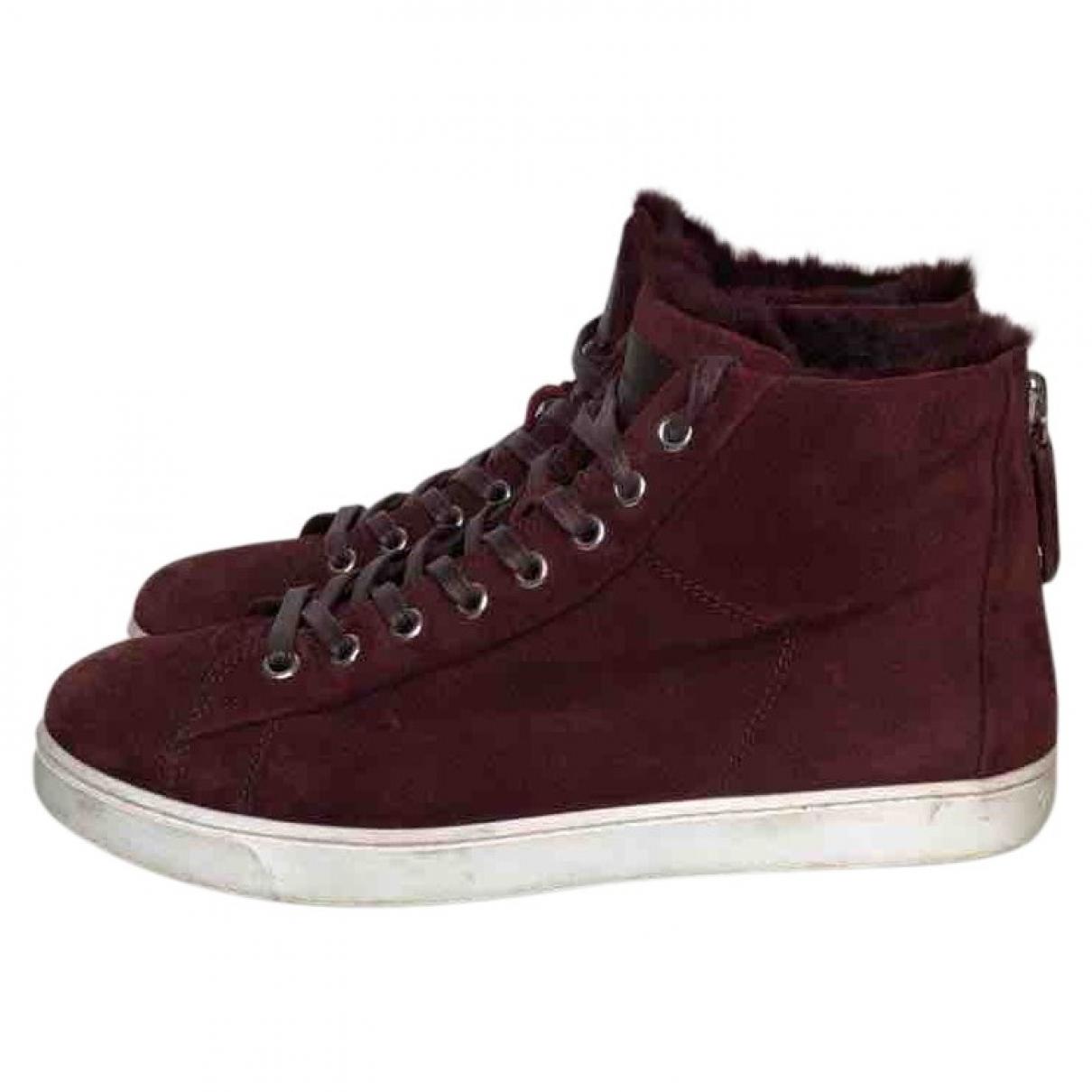 Gianvito Rossi \N Sneakers in  Bordeauxrot Veloursleder