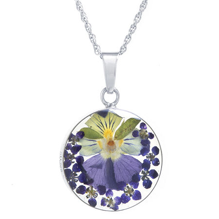 Everlasting Flower Womens Sterling Silver Round Pendant Necklace, One Size , No Color Family