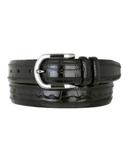 Mezlan Men's Black Genuine Alligator Skin Belt