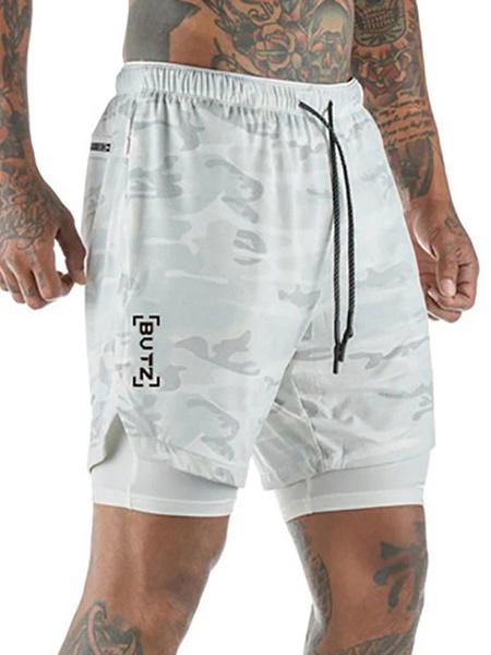 Milanoo Hombres Pantalones cortos de entrenamiento Camo 2 en 1 Correr Ligero Gimnasio Yoga Entrenamiento Deporte Pantalones cortos