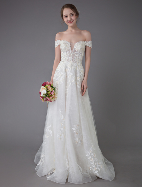 Milanoo Summer Wedding Dresses Off The Shoulder Lace Champagne Applique Beaded Maxi Beach Bridal Gowns