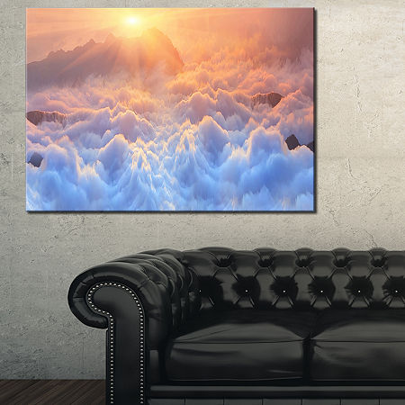 Designart Frosty Carpathian Mountains Canvas Art, One Size , Blue