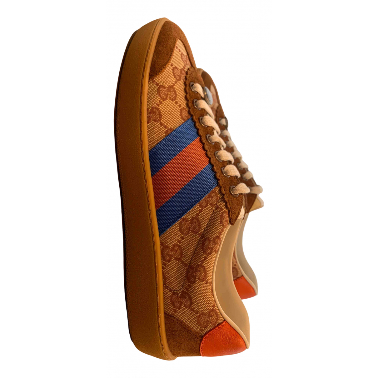 Gucci G74 Sneakers in  Braun Leinen