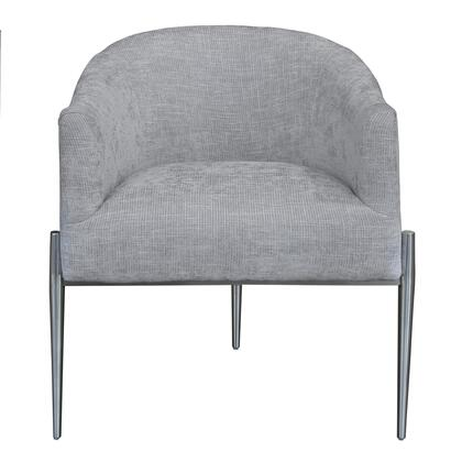 Jolie Collection LCJLCHSLV Contemporary Accent Chair in Polished Stainless Steel Finish and Silver