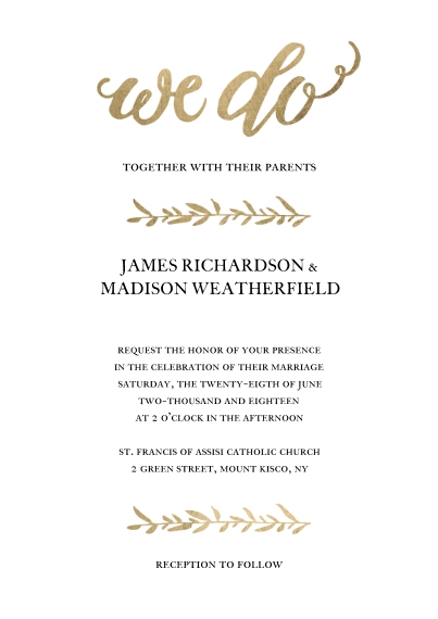 Wedding Invitations 5x7 Cards, Premium Cardstock 120lb with Scalloped Corners, Card & Stationery -Wedding Invitation Gold Lettering Leaves by Tumbalin