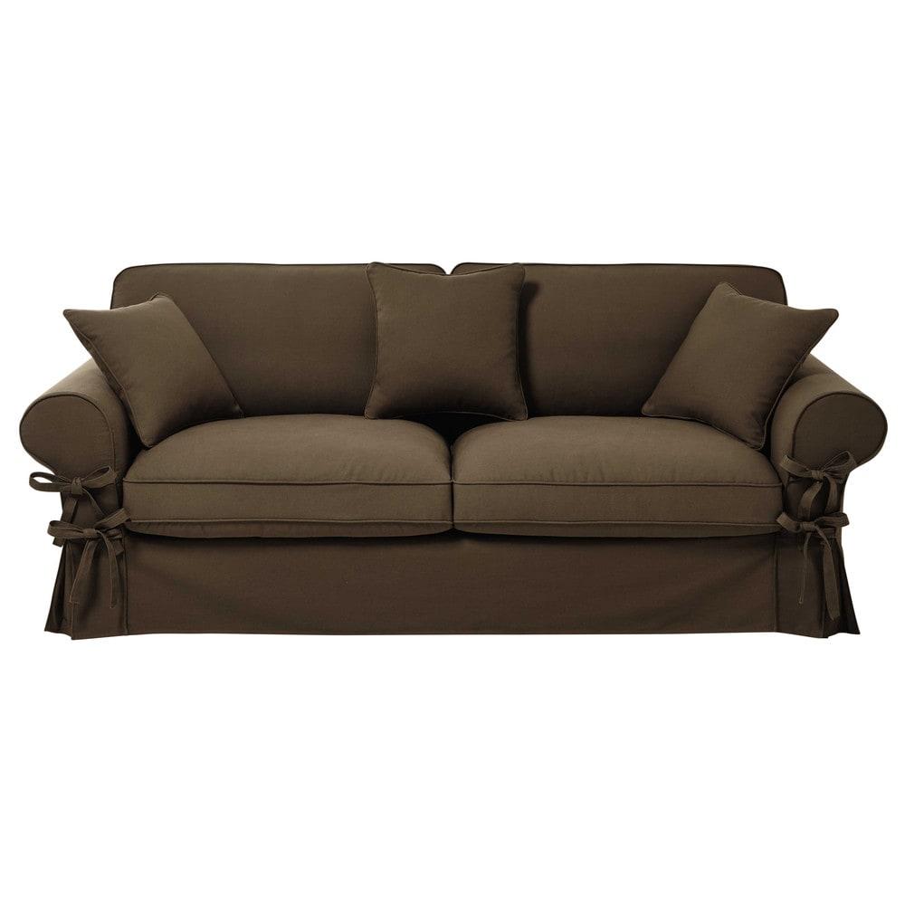 Ausziehbares 3-/4-Sitzer-Sofa aus Baumwolle, taupefarbener, Matratze 12 cm Butterfly