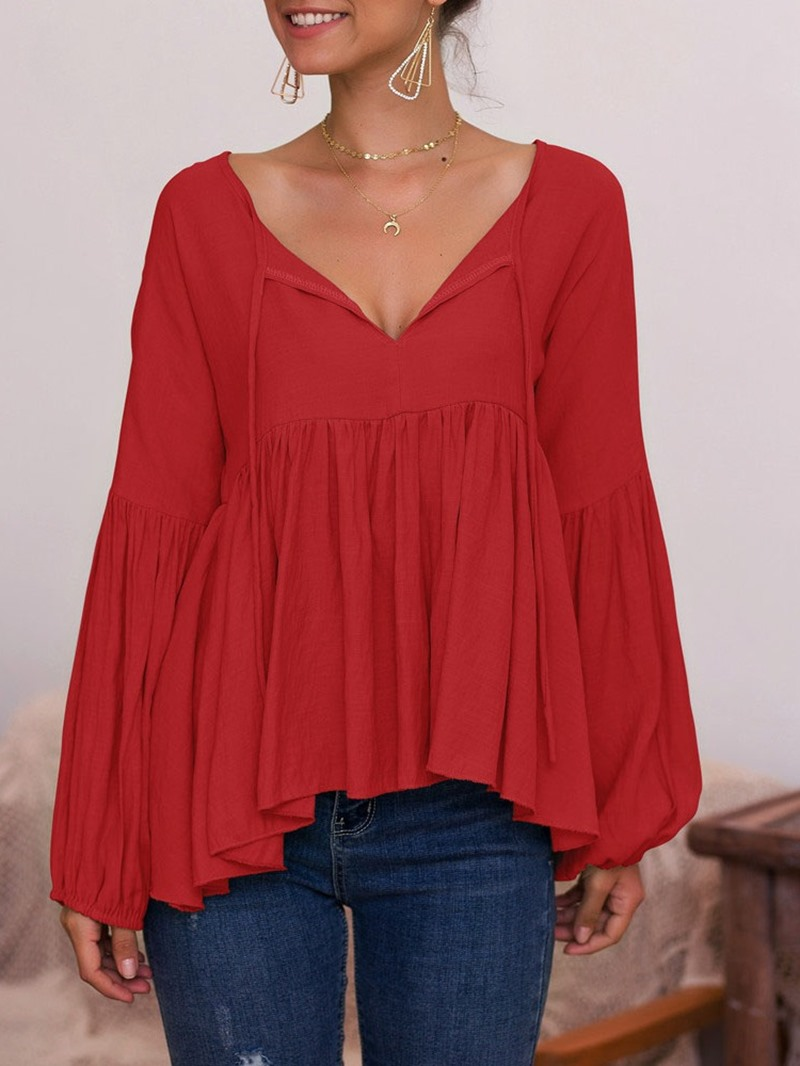 Ericdress V-Neck Long Sleeve Plain Ethnic Fall T-Shirt