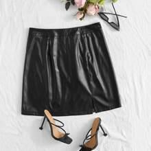 Plus PU Split Hem Straight Skirt