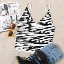 Plus Zebra Striped Knit Cami Top