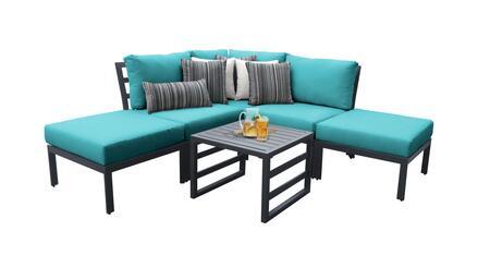Lexington LEXINGTON-06b-ARUBA 6-Piece Aluminum Patio Set 06b with 1 Corner Chair  2 Armless Chairs  2 Ottomans and 1 End Table - Ash and Aruba