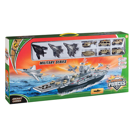 Aircraft Carrier Bp96243 Playset W/ 3 Planes And Vehicles, One Size , Multiple Colors