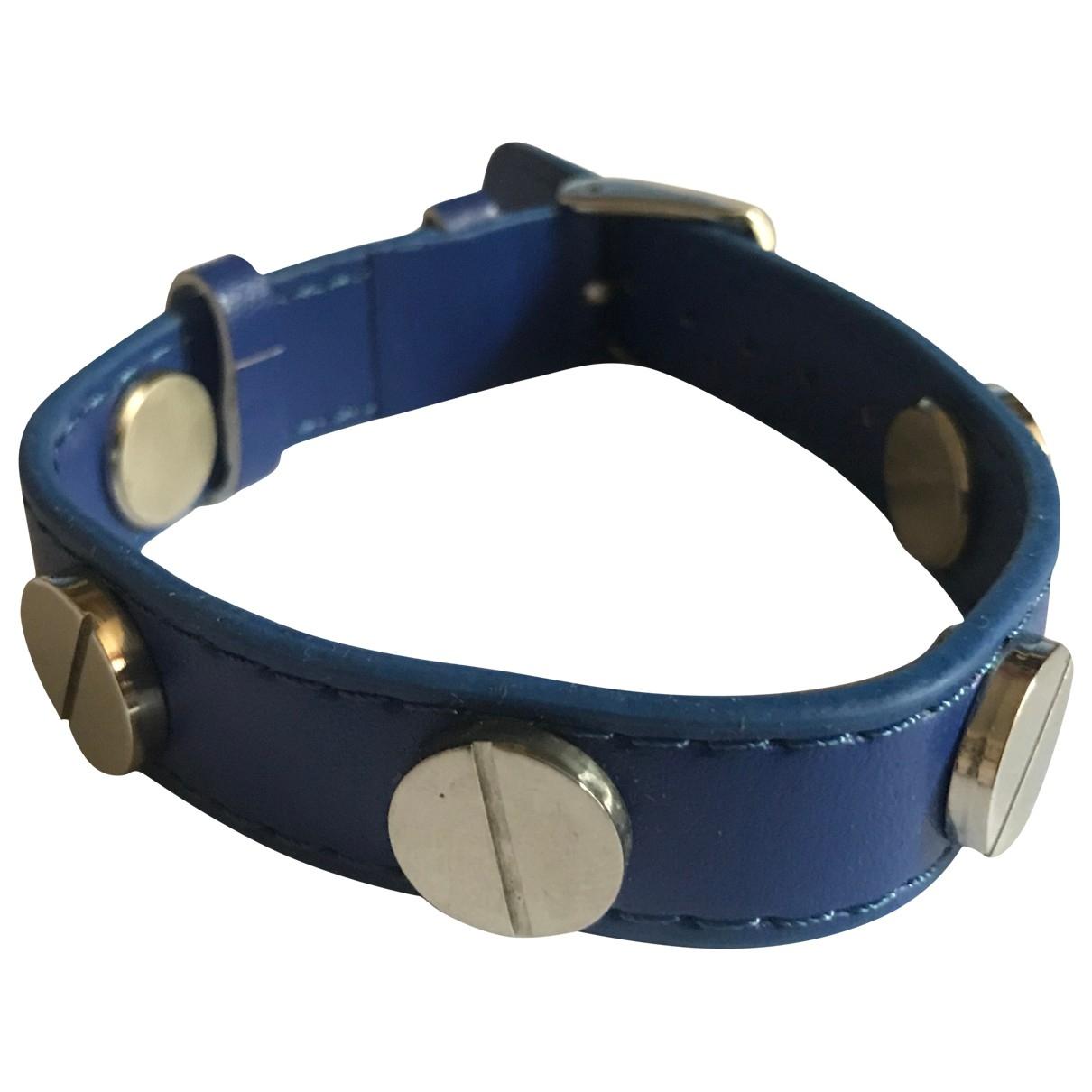 Non Signe / Unsigned Motifs Ethniques Armband in  Blau Leder