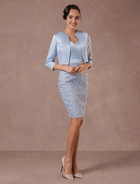 Milanoo Party Dress Suits Lace Illusion Cocktail Dress Wedding Party Suits With Long Sleeves Jacket Wedding Guest Dress