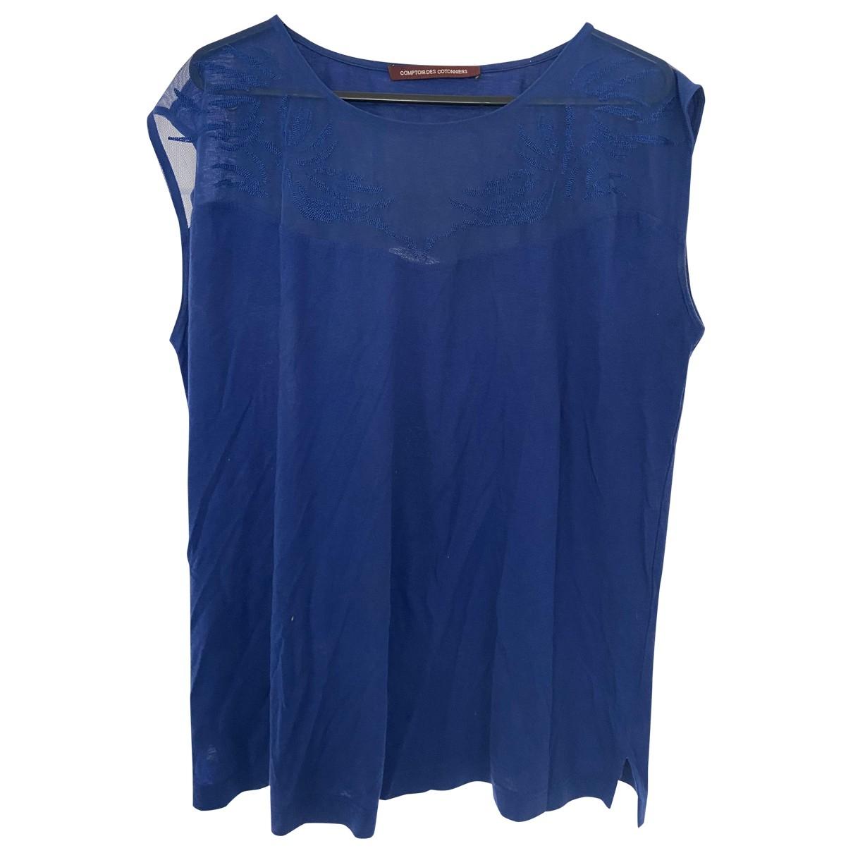 Comptoir Des Cotonniers - Top   pour femme en coton - bleu