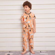 Toddler Boys Cartoon Animal Print PJ Set