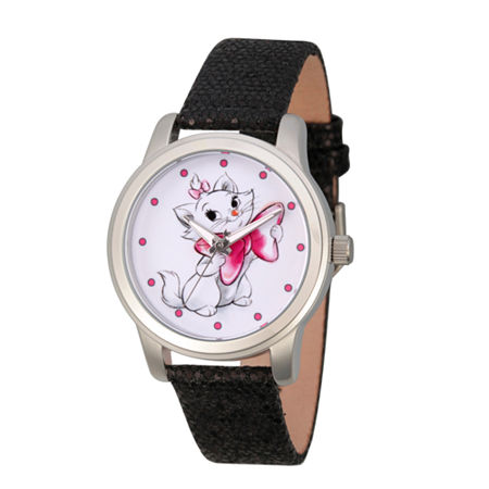 Disney Princess & The Frog Womens Black Leather Strap Watch-Wds000349, One Size , No Color Family
