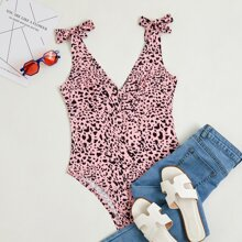 Cheetah Print Knotted Bodysuit