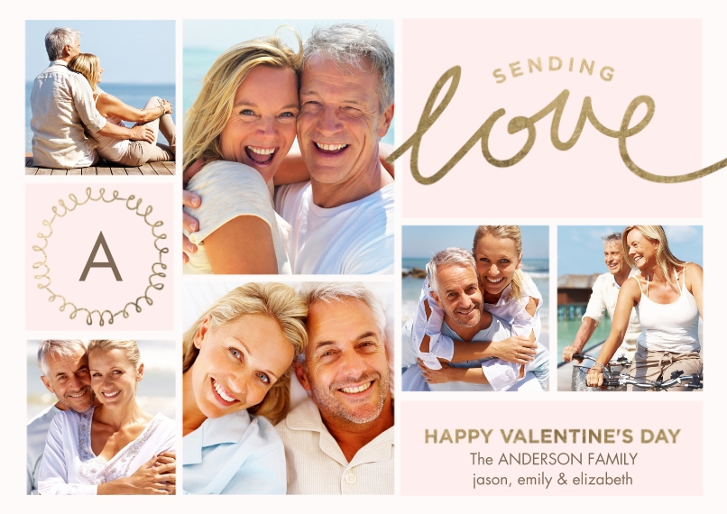 Valentine's Cards Flat Glossy Photo Paper Cards with Envelopes, 5x7, Card & Stationery -Valentine Monogram Sending Love