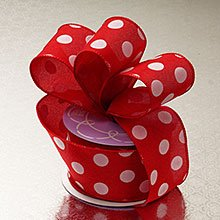 Polyester Red White Polka Dot Linen Wired Ribbon - 2-1/2 X 10 Yards - Polyethyleneester - Embellishments & Trims by Paper Mart