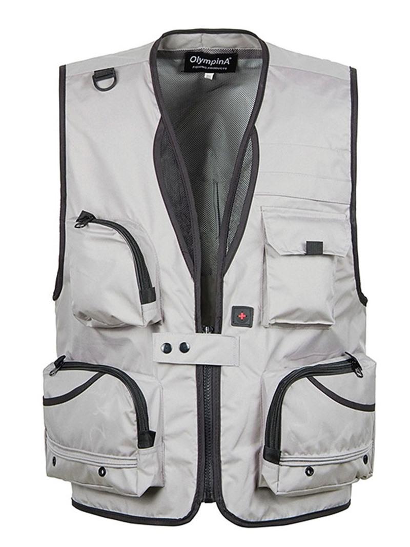 Ericdress Zipper Color Block V-Neck Mens Casual Waistcoat