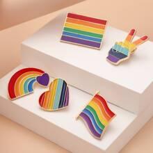 5 Stuecke LGBT Brosche mit Regenbogen Streifen