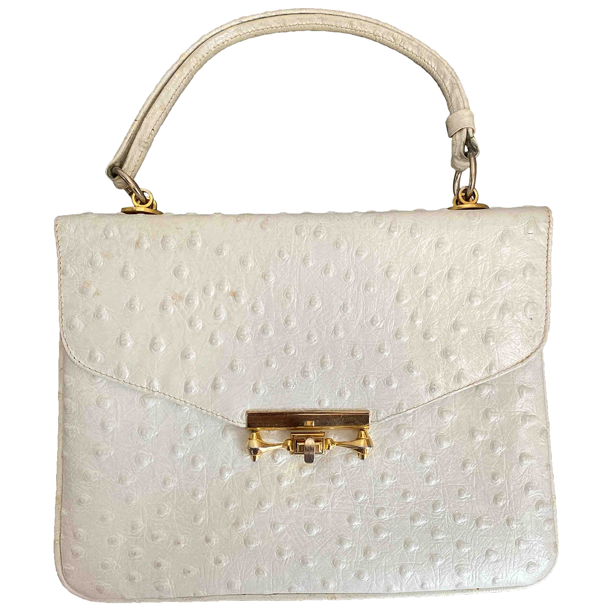 Non Signé / Unsigned \N White Ostrich handbag for Women \N