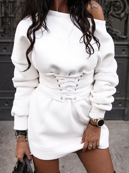 Milanoo Women Hoodie Dresses White Long Sleeves Lace Up Hooded Sweatshirt
