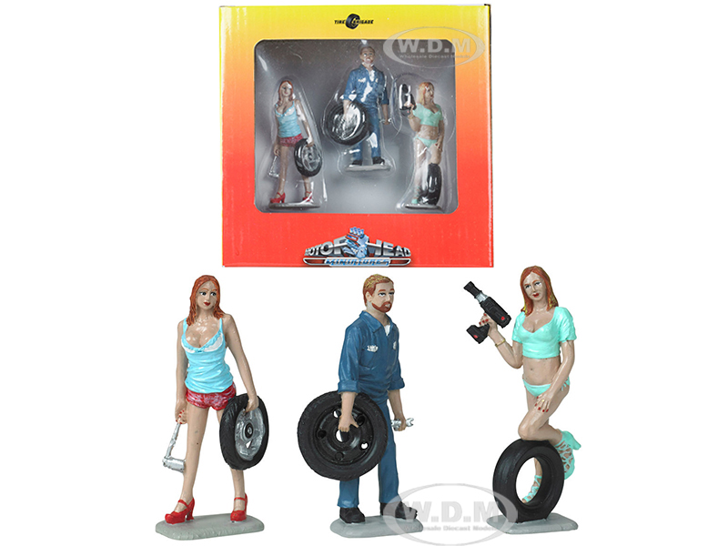 Michelle Meg and Gary Tire Brigade 3 piece Figurine Set 1/24 by Motorhead Miniatures