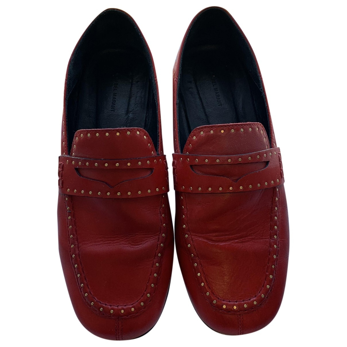Isabel Marant Fezzy Red Leather Flats for Women 36 EU