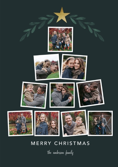 Christmas Photo Cards 5x7 Cards, Premium Cardstock 120lb with Rounded Corners, Card & Stationery -Tree Collage