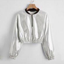 Zip Half Placket Metallic Jacket