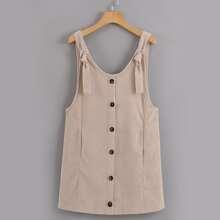 Button Through Corduroy Overall Dress