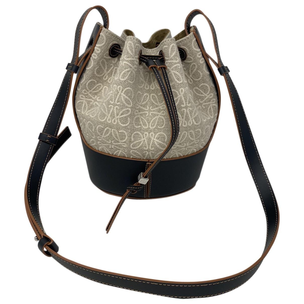 Loewe Balloon Beige Linen handbag for Women N
