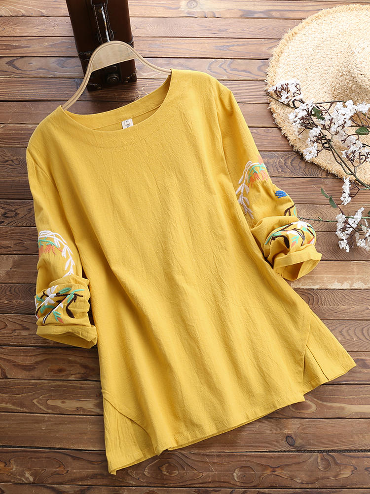 Women Round Neck Embroidered Long Sleeved T-Shirts