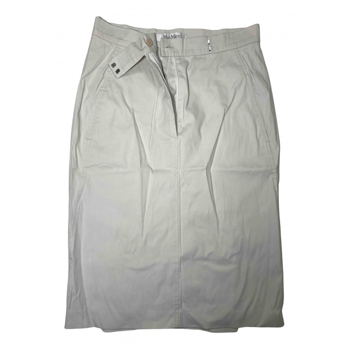 Max Mara - Jupe   pour femme en coton - elasthane - blanc