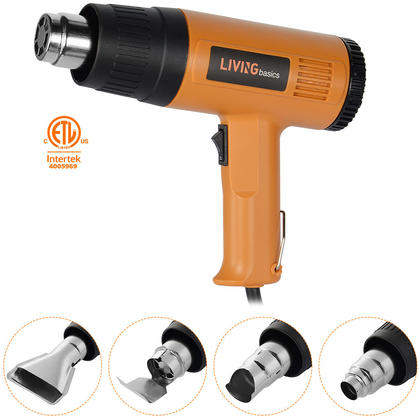 1500W Heat Gun Hot Air Wind Blower with 4 Nozzles and Two Heat Levels Power Heater - LIVINGbasics™