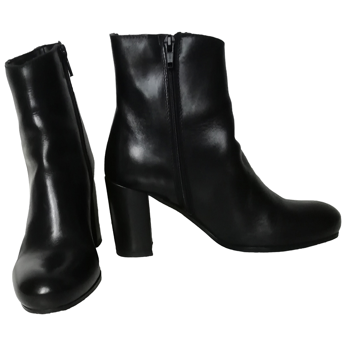 Non Signé / Unsigned \N Black Leather Ankle boots for Women 36.5 IT