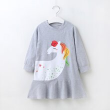 Toddler Girls Cartoon Graphic Ruffle Hem Sweatshirt Dress