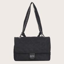 Quilted Twist Lock Flap Shoulder Bag
